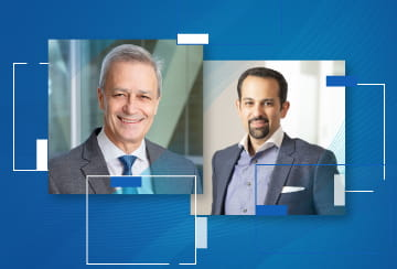 Darryl Sleep, Amgen's chief medical officer, and Helmy Eltoukhy, CEO of Guardant Health.